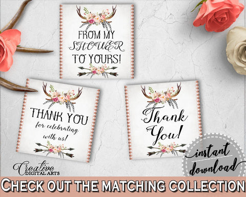 Antlers Flowers Bohemian Bridal Shower Thank You Tags Square in Gray and Pink, thanks tags, deer skull antlers, party decor, prints - MVR4R - Digital Product