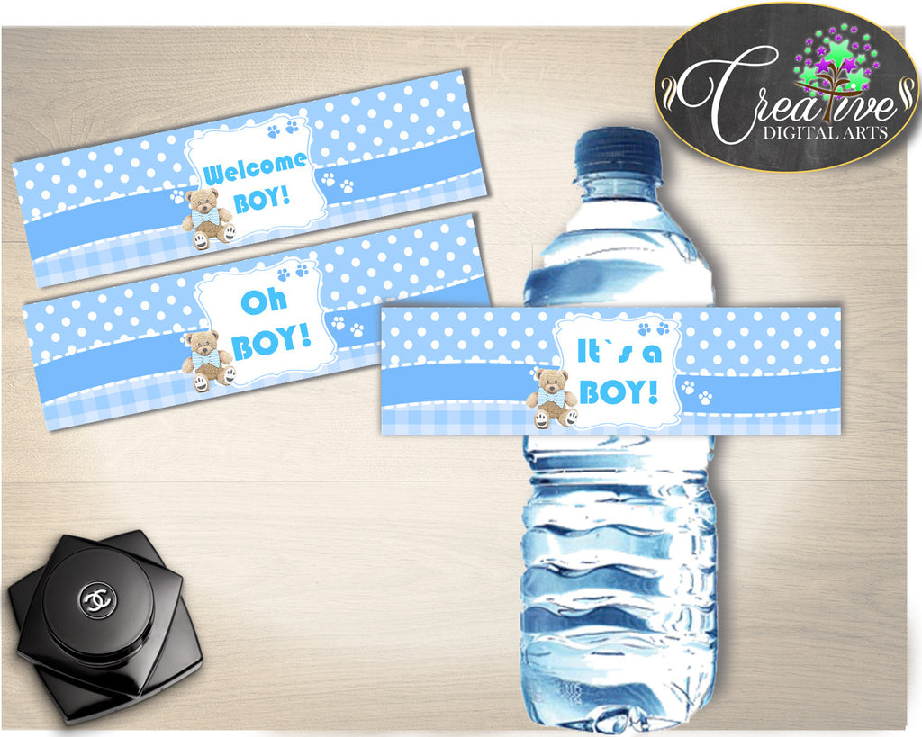 Boy Baby Shower BOTTLE LABELS printable, baby shower blue, boy baby shower labels printable, digital files Pdf Jpg, instant download - tb001