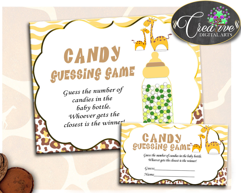 CANDY GUESSING GAME giraffe baby shower boy or girl sign tickets, brown yellow theme printable, Jpg Pdf, instant download - sa001