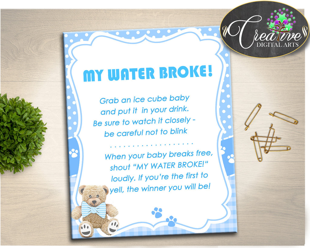 Teddy Bear Baby Shower MY WATER BROKE game blue, boy baby shower game, baby shower game printable, Jpg Pdf, instant download - tb001