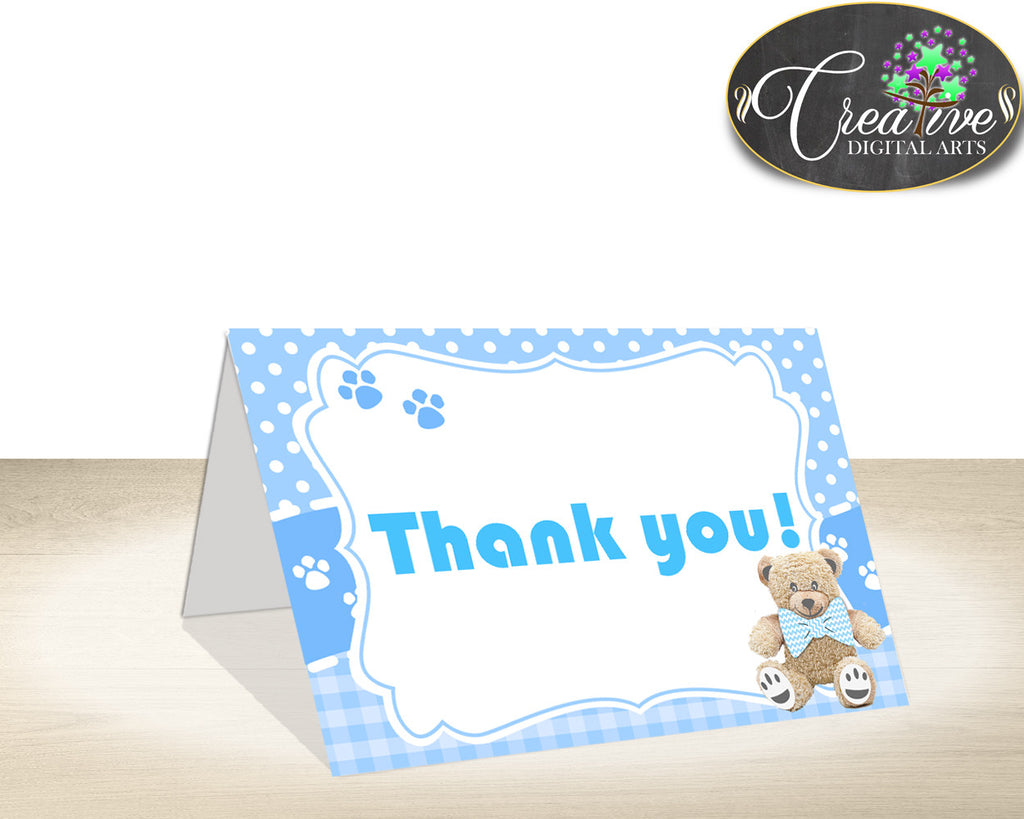 Teddy Bear Baby shower THANK YOU card blue printable, boy baby shower, party thank you, digital files jpg pdf, instant download - tb001