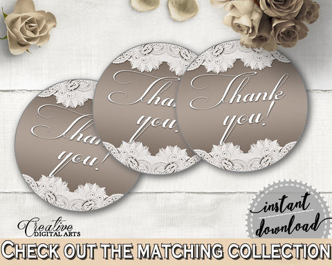 Brown And Silver Traditional Lace Bridal Shower Theme: Thank You Tag - round favors, rustic bridal, party ideas, bridal shower idea - Z2DRE - Digital Product