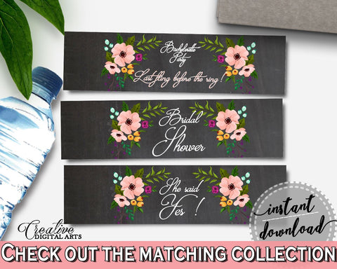 Chalkboard Flowers Bridal Shower Bottle Labels in Black And Pink, water wrapper, chalk bridal shower, paper supplies, party theme - RBZRX - Digital Product