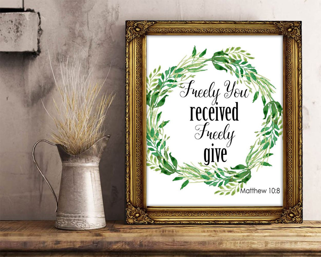 Wall Art Scripts Digital Print Matthew Poster Art Scripts Wall Art Print Matthew  Wall Decor Scripts bible quote matthew 10 8 wreath green - Digital Download