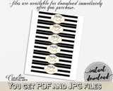 Baby shower NAPKIN RINGS printable with white black strips color theme, digital file jpg pdf, instant download - bs001