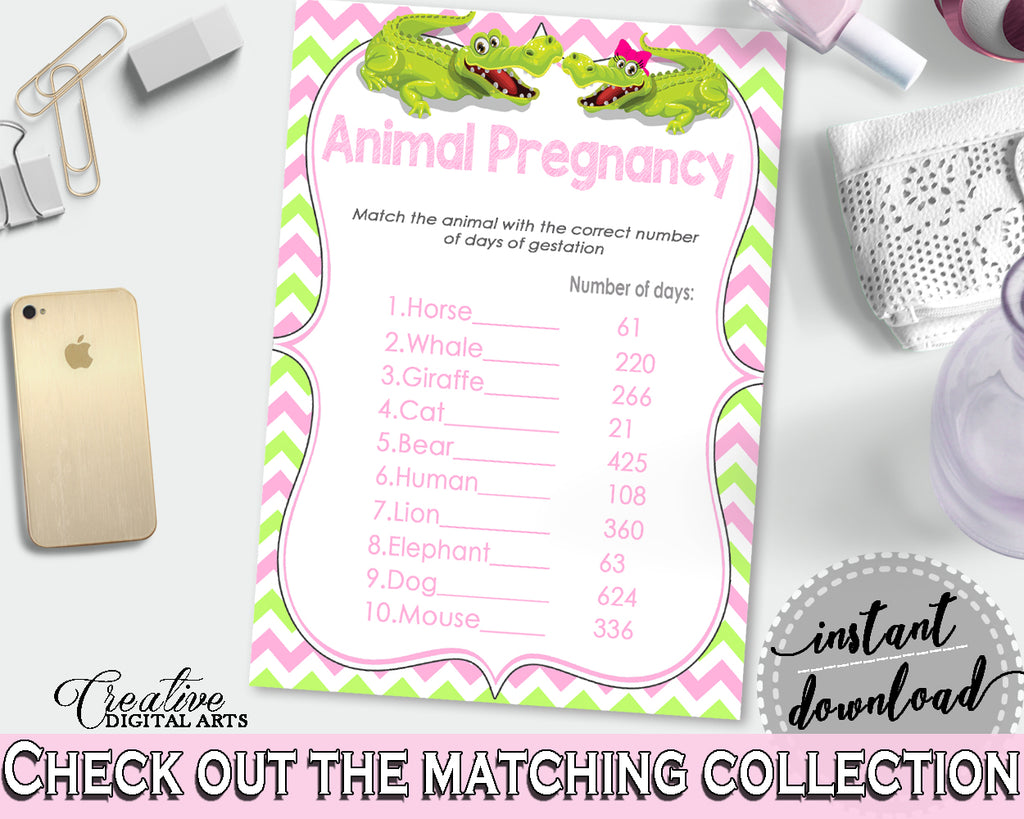 Baby Shower ANIMAL GESTATION game with green alligator and pink color theme, instant download - ap001