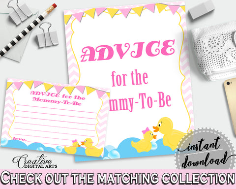 Advice Cards Baby Shower Advice Cards Rubber Duck Baby Shower Advice Cards Baby Shower Rubber Duck Advice Cards Purple Pink pdf jpg rd001
