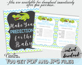 Baby PREDICTIONS sign and cards activity printable for baby shower with green alligator and blue color theme, instant download - ap002