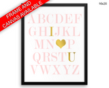 Alphabet Print, Beautiful Wall Art with Frame and Canvas options available Nursery Decor