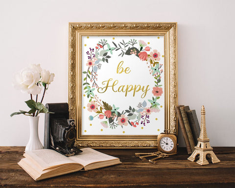 Wall Decor Be Happy Printable Be Happy Prints Be Happy Sign Be Happy Inspirational Art Be Happy Inspirational Print Be Happy Printable Art - Digital Download