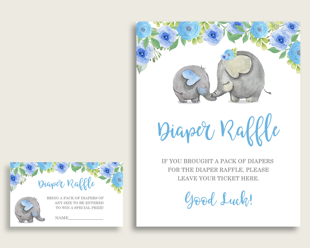 Elephant Blue Baby Shower Diaper Raffle Tickets Game, Boy Blue Gray Diaper Raffle Card Insert and Sign Printable, Instant Download ebl01