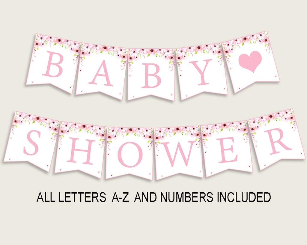 Flower Blush Baby Shower Banner All Letters, Birthday Party Banner Printable A-Z, Pink Green Banner Decoration Letters Girl, VH1KL