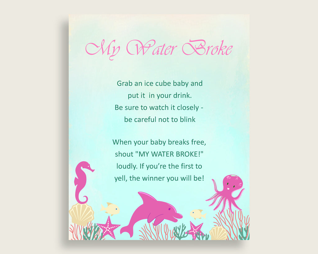 Under The Sea Baby Shower My Water Broke Game Printable, Pink Green Ice Cube Babies Game, Girl Baby Shower Frozen Babies Game Sign uts01
