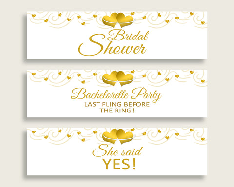 Bottle Labels Bridal Shower Bottle Labels Gold Hearts Bridal Shower Bottle Labels Bridal Shower Gold Hearts Bottle Labels White Gold 6GQOT