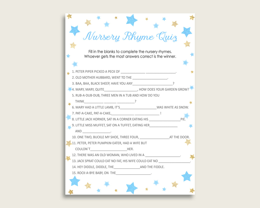 Stars Nursery Rhyme Quiz Printable, Blue Gold Nursery Rhyme Game, Blue Gold Baby Shower Boy Activities, Instant Download, Little Star bsr01