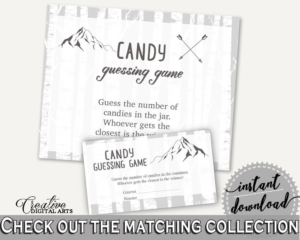 Candy Guessing Baby Shower Candy Guessing Adventure Mountain Baby Shower Candy Guessing Gray White Baby Shower Adventure Mountain S67CJ - Digital Product