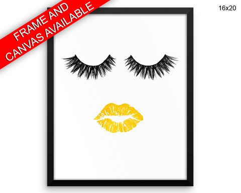 Lips Eyelashes Print, Beautiful Wall Art with Frame and Canvas options available Beauty Decor