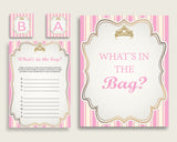 Royal Princess Baby Shower What's In The Bag Game, Pink Gold Girl Bag Game Printable, Instant Download, Glamorous Light Pink Princesa rp002