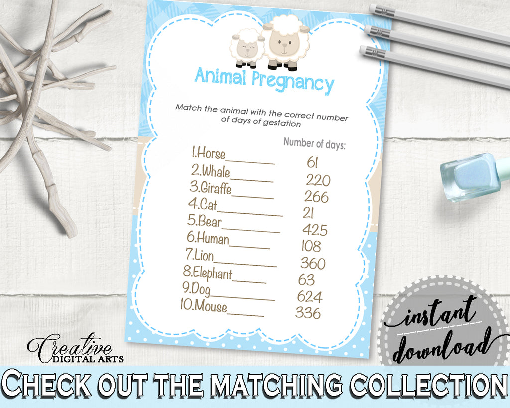 Little Lamb Baby Shower Boy ANIMAL GESTATION game with blue chevron theme sheep, digital files pdf jpg, instant download - fa001
