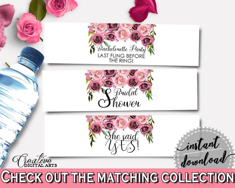 Bottle Labels Bridal Shower Bottle Labels Floral Bridal Shower Bottle Labels Bridal Shower Floral Bottle Labels Pink Purple pdf jpg - BQ24C - Digital Product