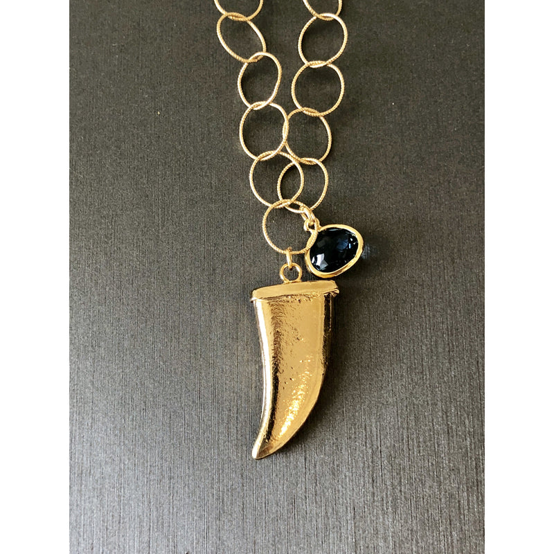 Sample Sale! Gold Horn with Sapphire Drop