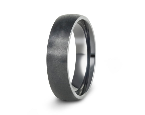 Black titanium wedding band