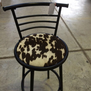 Black bar stool with fabric seat