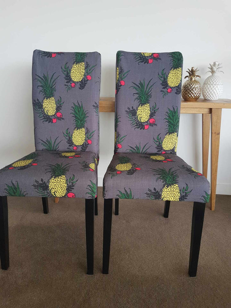 SOLD Pineapple print dining/accent chairs