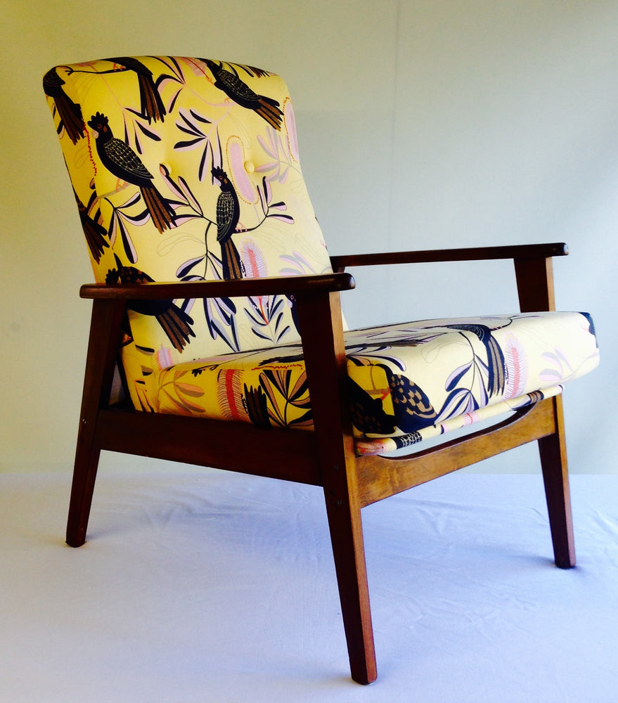 Retro Recliner in Jos Proust Black Cockatoo on Yellow fabric