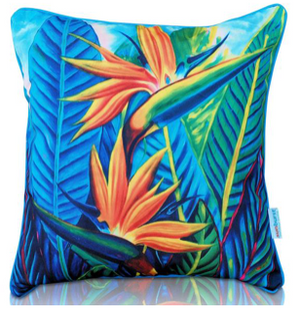 Bird of Paradise with piping  outdoor cushion cover