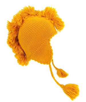 Beanie Ear-Flap Yellow Alpaca Wool
