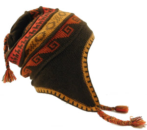 Beanie Alpaca Lining Hat - Brown Multi #C01303