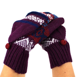 Alpaca  Gloves Purple Color
