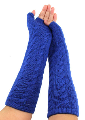 Finger - Less Alpaca Women's Gloves Blue Color