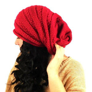 Alpaca Beanie Slouch Red Color One Size