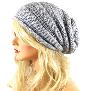 Slouchy Knitted Beanie Silver Color One Size