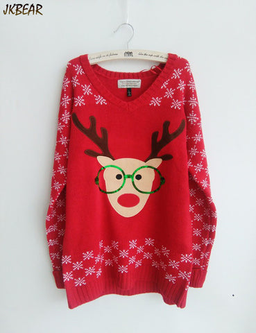 New-arriving Rudolph the Red Nose Reindeer Wearing Glasses Ugly Christmas Sweaters for Women S-XL - Vietees Shop Online