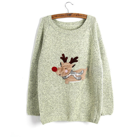 2016 New Winter Women's Ugly Christmas Sweater Green Gray Rose Pink O-neck Long Sleeve Pullovers - Vietees Shop Online