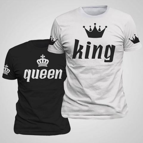 BKLD Valentine Shirts Woman Cotton King Queen Funny Letter Print Couples Leisure T-shirt Man Tshirt Short Sleeve O neck T-shirt - Vietees Shop Online