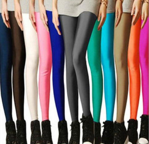 2017 Sexy Solid Candy Neon Leggings Plus Size Women's Leggings High Stretched Elastic Leggings Fitness Ballet Dancing Paint - Vietees Shop Online