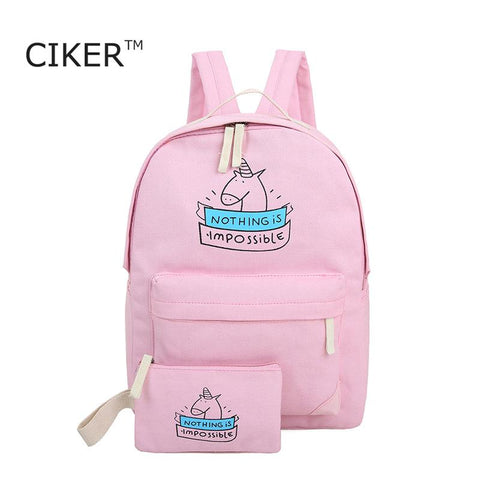 women canvas backpack fashion cute travel bags backpack 2pcs/set new laptop backpacks - Vietees Shop Online
