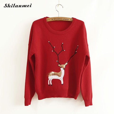2017 Ugly Sweater Rabbit Hair Women Knitted Animal Prints Pullover Sweater Warmer Winter Reindeer Christmas - Vietees Shop Online