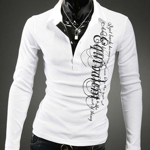 Spring Autumn Long Sleeve Men Glof Shirt Letters Printed White Shirts Slim Fit Jerseys Male Men's Sport Shirts - Vietees Shop Online