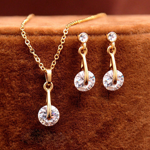 Trendy CZ Crystal Jewelry Sets for Women valentines day gift day Gold Color Pendant Necklace - Vietees Shop Online