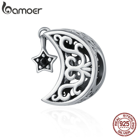 Sterling Silver Openwork Moon and Star Goodnight Charm Beads Jewelry Valentine Day Gift - Vietees Shop Online