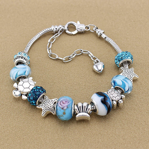 Fashion Women Girl Jewelry Ocean Shell Blue Bracelet Valentines Day Gift - Vietees Shop Online