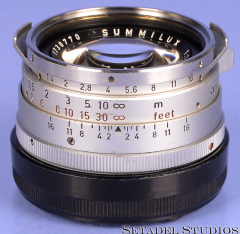 LEICA LEITZ 35MM F1.4 SUMMILUX-M VER 1 STEEL RIM ELC CHROME LENS MANDLER CLEAN