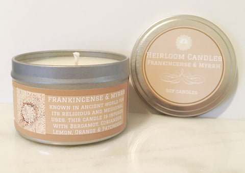 Frankincense and Myrrh Soy Candle - Round Tin
