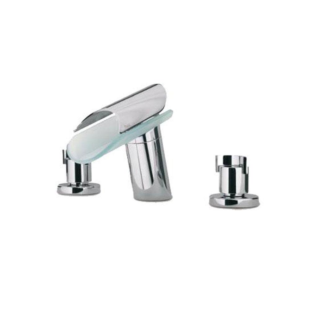 Latoscana Morgana Widespread With Glass Spout In A Brushed Nickel Finish touch on bathroom sink faucets Latoscana