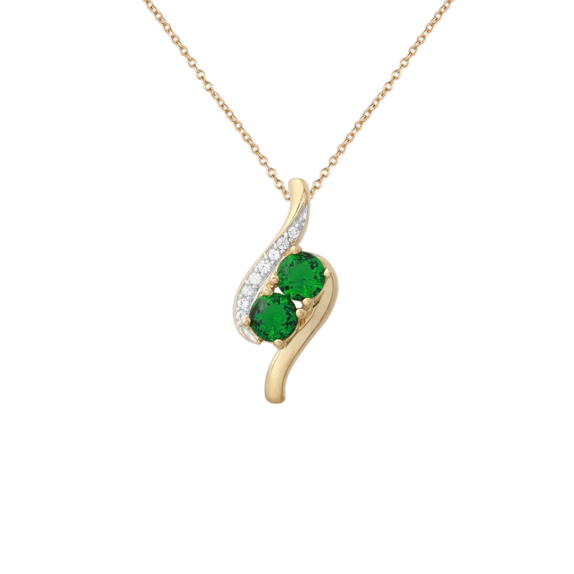 Two Stone Simulated Emerald Pendant